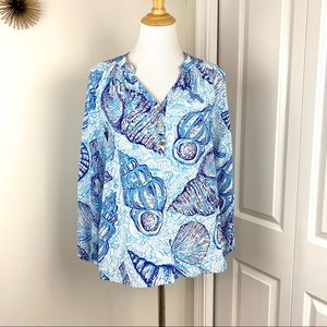 Lilly Pulitzer Stuffed Shells Blue Elsa Silk Top S
